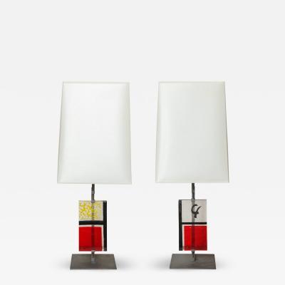 Roberto Giulio Rida Pair of Roberto Giulio Rida Red Yroky Table Lamps Italy 2014