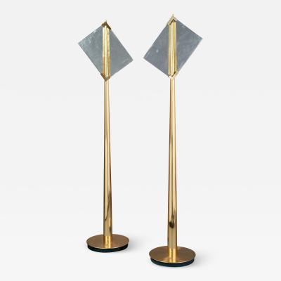 Roberto Giulio Rida Pair of Roberto Rida Floor Lamps with Vintage Venini Glass