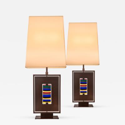 Roberto Giulio Rida Roberto Rida Pair of Polychromatic Murano Glass and Gunmetal Patinated Lamps