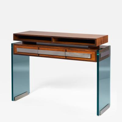 Roberto Giulio Rida Rosewood and Glass Console Table by Roberto Rida