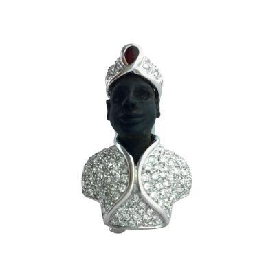 Roberto Lezzagni Blackamoor Diamond White Gold Ruby Brooch Clip