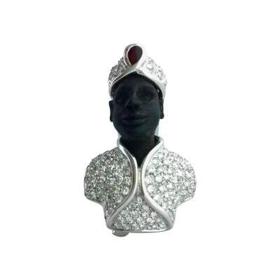 Roberto Lezzagni Roberto Lezzagni Blackamoor Diamond White Gold Ruby Brooch Clip