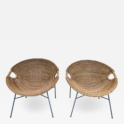 Roberto Mango Rattan Bucket Armchairs by Roberto Mango Italy 1950s