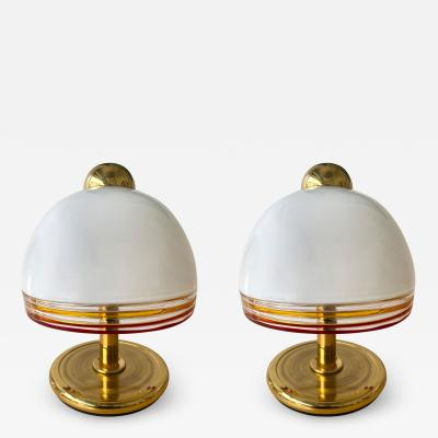 Roberto Pamio Pair of Murano Glass and Brass Lamps by Roberto Pamio for Fabbian Italy 1970s