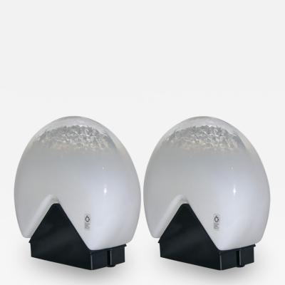 Roberto Pamio Roberto Pamio for Leucos 1970s Italian Pair of Black and White Glass Lamps