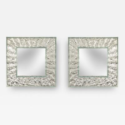 Roberto Rida A Pair of Martel Square Glass Mirrors
