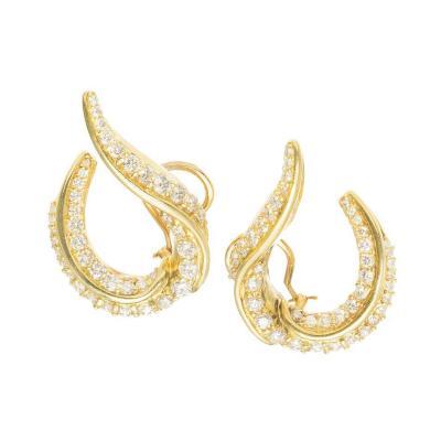 Robin Rotenier Robin Rotenier Diamond Yellow Gold Swirl Clip Post Earrings