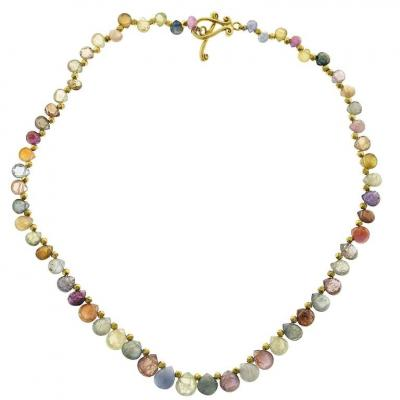 Robin Routier Robin Routier Multicolor Sapphire Yellow Gold Necklace