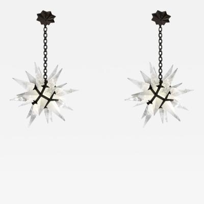 Rock Crystal Star Chandeliers by Phoenix