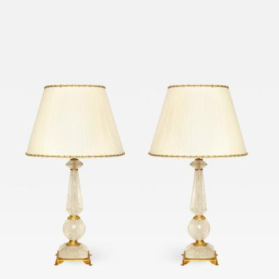 Rock Crystal Table Lamps with Bronze Mounts