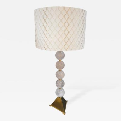 Rock Crystal and Brass Table Lamp