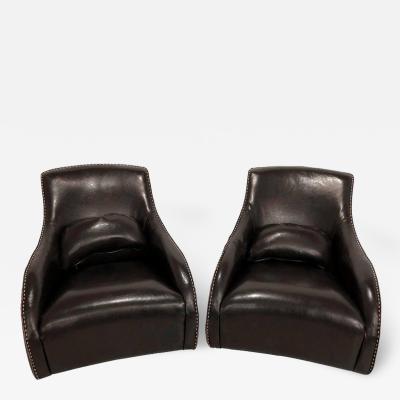 Rocking Club Chair Mid Century Modern Style in Fine Dark Brown Leather