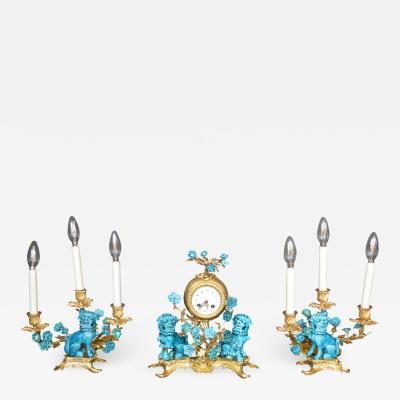 Rococo Chinosoiserie Style Three Piece Gilt Bronze and Porcelain Clock Garniture