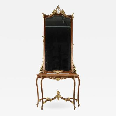 Rococo Parcel Gilt Walnut Pier Mirror and Console Table 19th Century