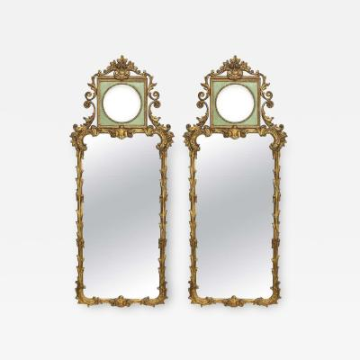Rococo Revival Style Paint Decorated and Giltwood Console or Wall Mirrors Pair