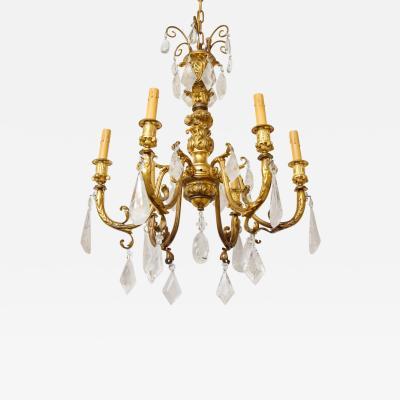 Rococo Style Gilt Bronze Six Light Chandelier