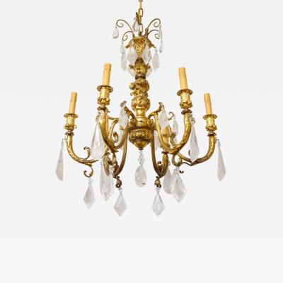 Rococo Style Gilt Bronze Six Light Chandelier