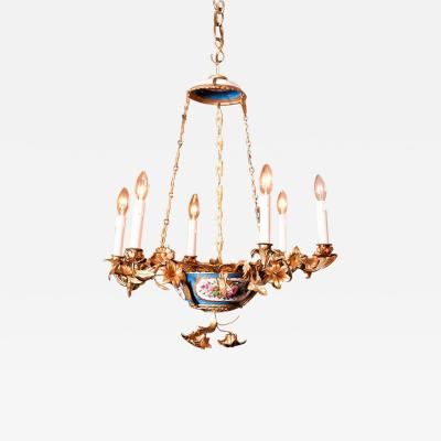 Rococo Style Gilt Bronze and Porcelain Six Light Chandelier