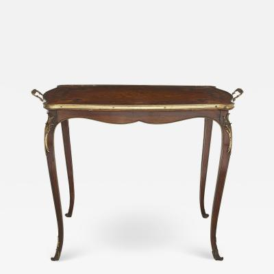 Rococo style gilt bronze mounted rosewood and marquetry tea table