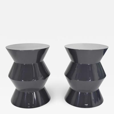 Rodolfo Dordoni Pair of Minotti Cesar Style Side Tables in Dark Gray Lacquer