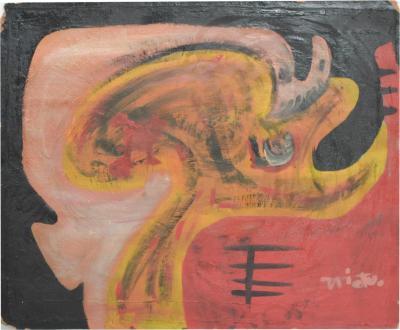 Rodolfo Nieto Mexican Artist RODOLFO NIETO Abstract Oil Painting Morton Label