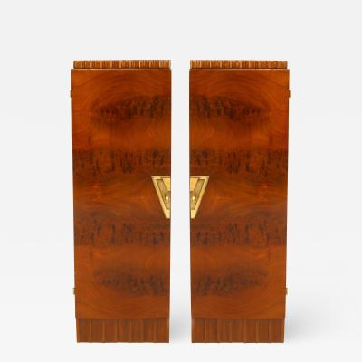 Roger Bal Pair of French Art Deco Veneer Pedestals Cabinets