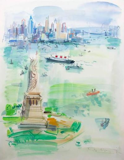 Roger Bertin 1960s Watercolour Vista Of New York City By Roger Bertin