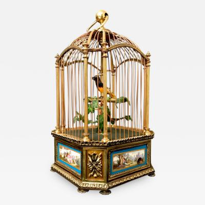 Roger Bontems Cage with Animated Singing Bird Made by Bontems in France