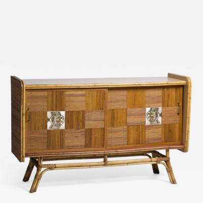 Roger Capron 1950 rattan sideboard with two sliding doors adorned with Roger Capron tiles