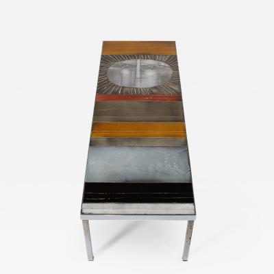 Roger Capron A large cocktail table Table au soleil steel ceramic tiles