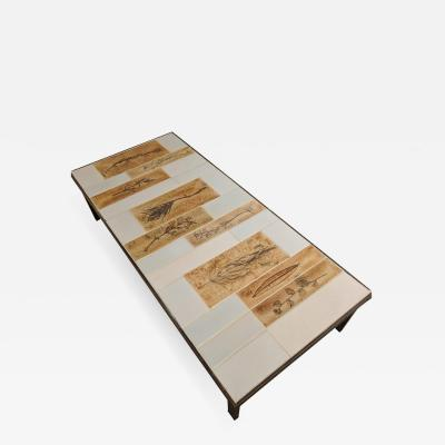 Roger Capron Coffee Table with Ceramic Garrigue Tiles by Roger Capron