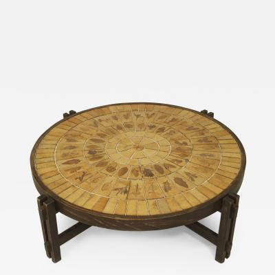 Roger Capron French 1960s Round Coffee Table