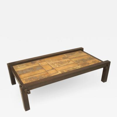 Roger Capron French Mid Century Wood and Ceramic Coffee Table