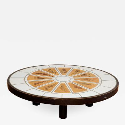 Roger Capron Low Oval Coffee Table with Garrigue Tiles by Roger Capron