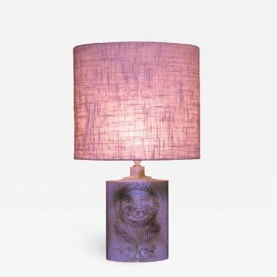 Roger Capron Oval Cream Glaze Lamp by Roger Capron