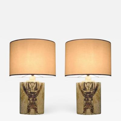 Roger Capron Pair of elliptical table lamps by Roger Capron France 1950