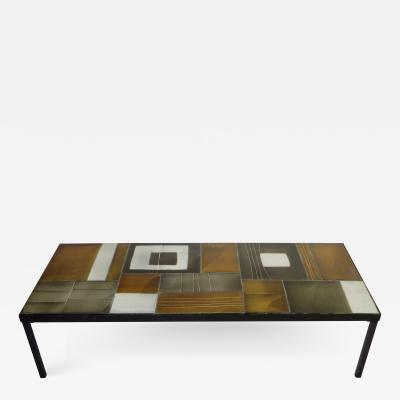 Roger Capron Roger Capron French Ceramic Coffee Table In Multi Color Tiles
