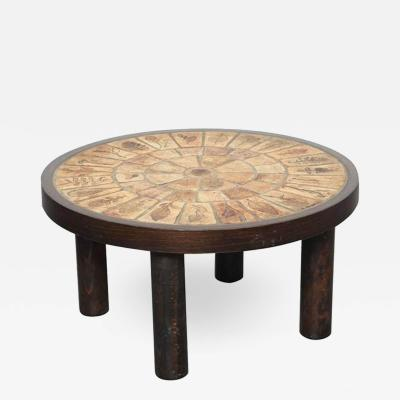 Roger Capron Round Coffee Table by Roger Capron with Garrigue Tiles