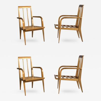 Roger Landault Four Midcentury Cherry Armchairs by Roger Landault