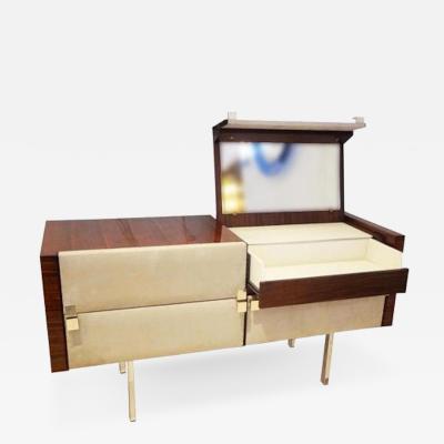 Roger Landault Modernist Dresser Vanity in Rosewood and Suede by Roger Landault circa 1965