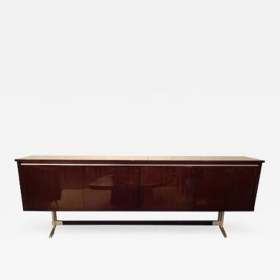 Roger Landault Modernist Sideboard in Rosewood and Aluminum in the style of Roger Landault