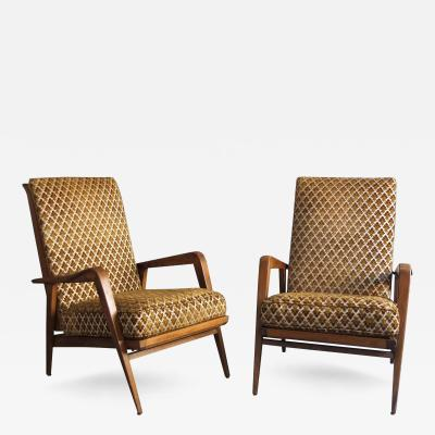 Roger Landault Pair of French 1950s Adjustable Armchairs and an Ottoman by Roger Landault