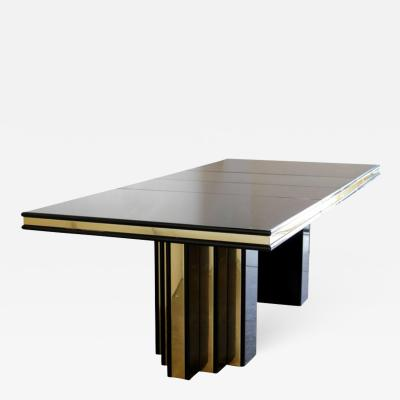 Roger Rougier Brass and Black Lacquer Dining Table by Roger Rougier