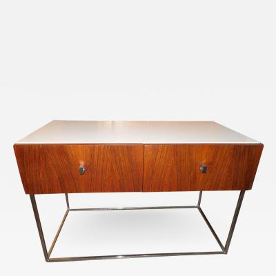 Roger Rougier Pair of Rougier Rosewood Two Drawer Chrome Base Nightstands Mid Century Modern