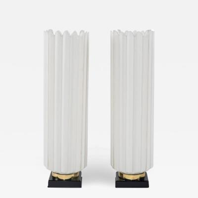 Roger Rougier Pair of White Black and Brass Rougier Table Lamps
