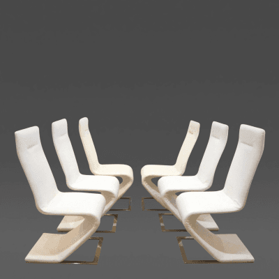Roger Rougier Set of Six Sculptural Roger Rougier Chairs