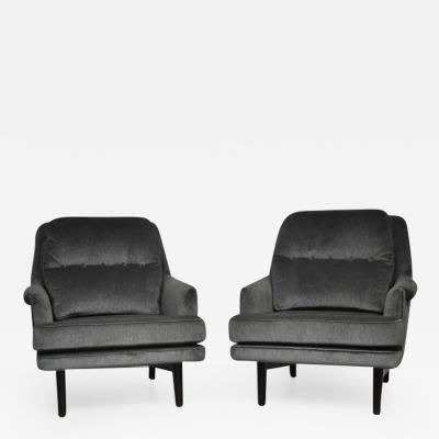 Roger Sprunger Dunbar Lounge Chairs in Grey Velvet