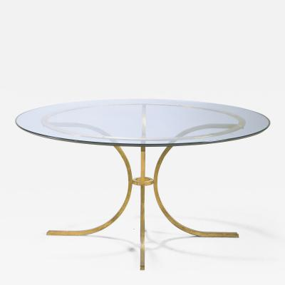 Roger Thibier Rare Mid century Roger Thibier gold leaf glass dining table 1960s
