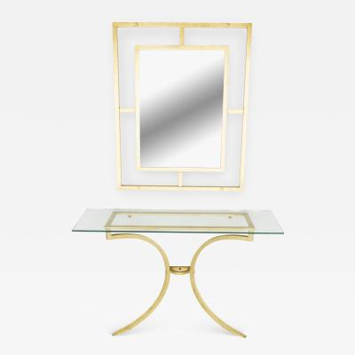 Roger Thibier Rare Roger Thibier gilt wrought iron gold leaf console table with mirror 1960s