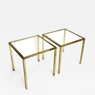 Roger Thibier Roger Thibier French Gilded Iron Signed Side Tables